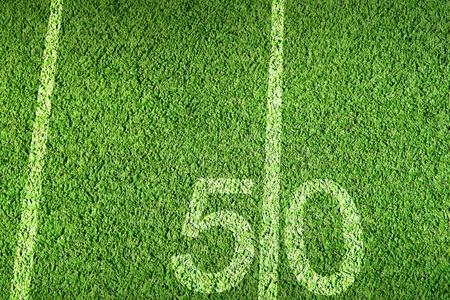 yardline: American football field on green grass Stock Photo