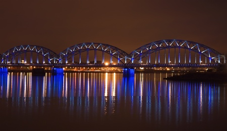 Riga railway bridge at night photo