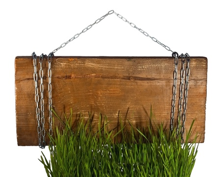 Signboard on metal chain with grass photo