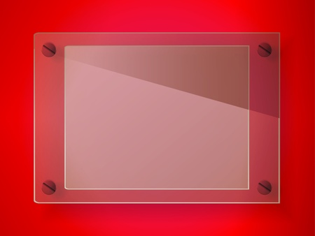 Red glass label with screws Vector