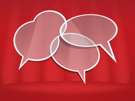 Speech bubbles on red scene with curtains Vector