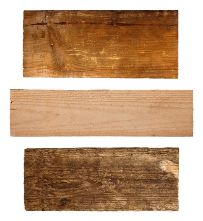 Set of wooden boards on white background photo