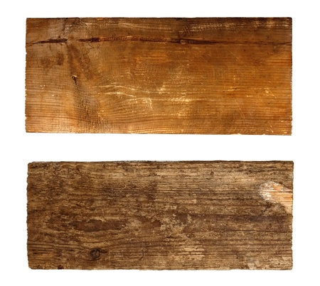 Two wooden boards isolated  on white  photo