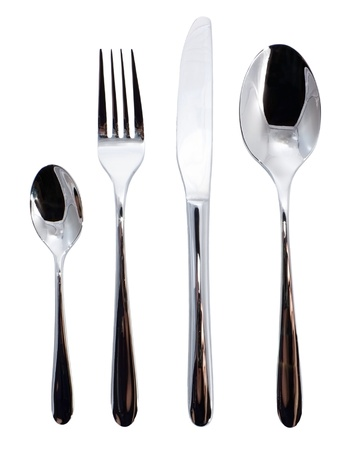 Set of the silverware tools: spoon, knife, fork and little spoon photo