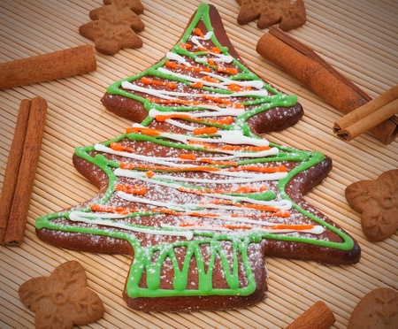 Cristmas cookies with cinnamon sticks photo