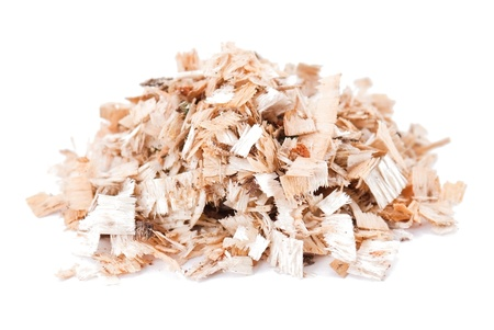 Wood work: Sawdust isolated on the white background Stock Photo