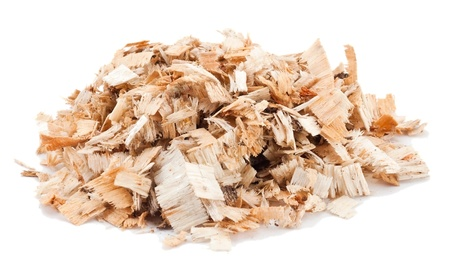 wood shavings: Sawdust on the white background