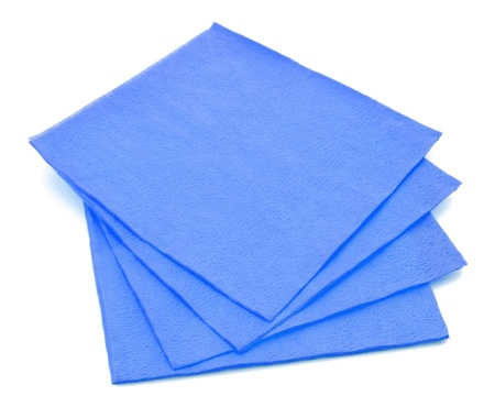 napkin: Group of blue paper napkins isolated on white background