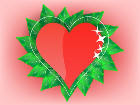 Heart with green leaves Vector Illustration