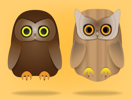 Two cute owls Stock Vector - 12011376