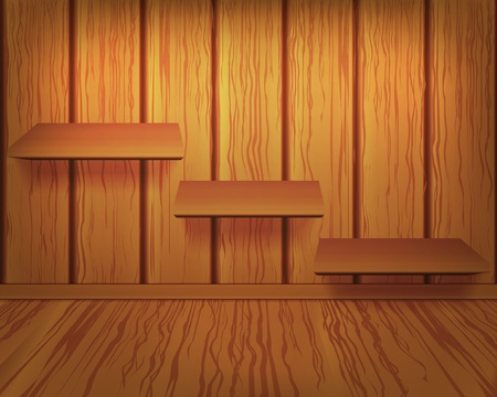 Shelves on wooden wall Vector