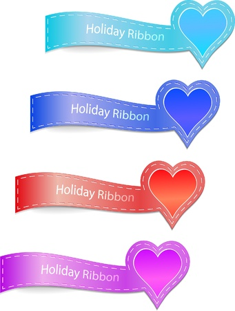 Heart ribbons Vector