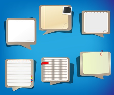 Set of speech bubbles in notepad style Vector