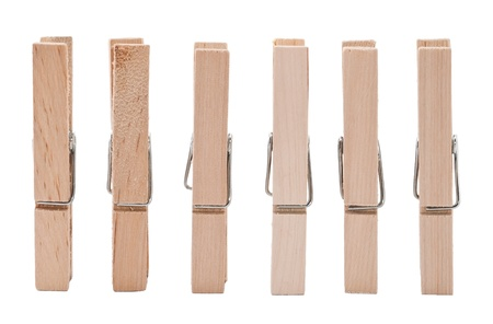 clothespin: Set of wooden clothes pins on white background