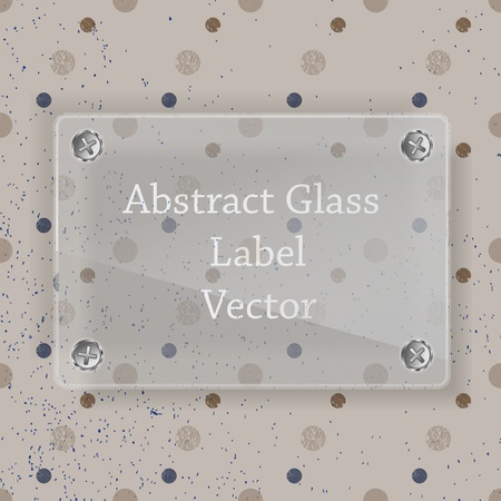 Glass label on dot background Vector