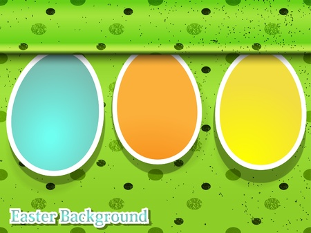 Three easter eggs on the green background Vector