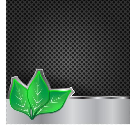 three leaf: Green leaves on metal background Illustration