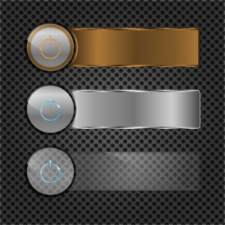 bronze texture: Set of power buttons with metal plates