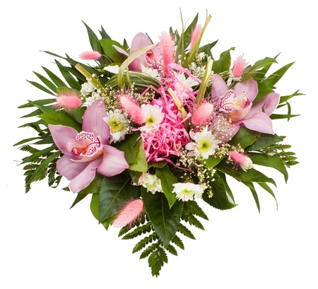 arrangement: Flower bouquet on the white background Stock Photo