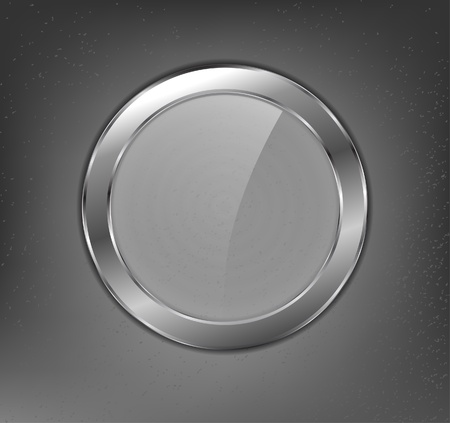 Metal glass button Vector
