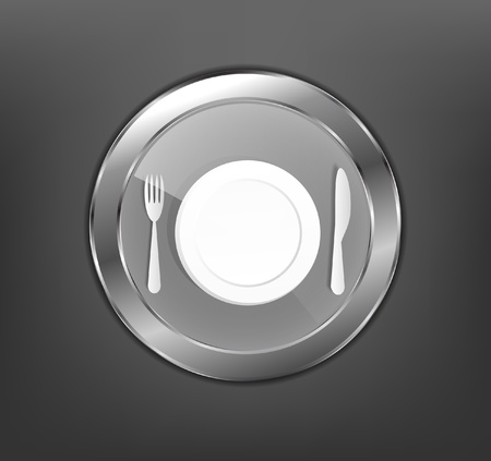 Icon of plate with silverware Stock Vector - 12773360