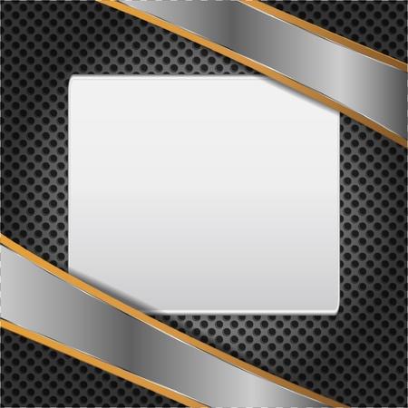 Werbung auf Metall-Hintergrund-Karte Vektorgrafik