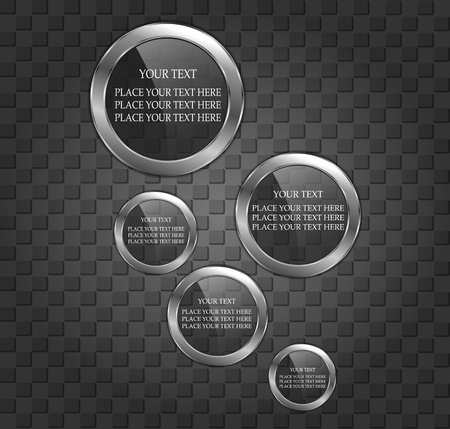 Glossy speech bubbles on the meatl background Vector