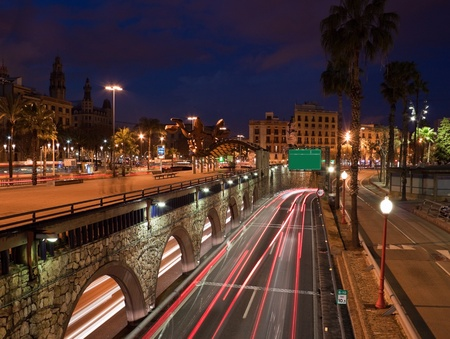 Barcelona traffic in the night Stock Photo - 12963443