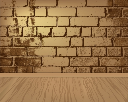 Wooden floor with brick wall Vector