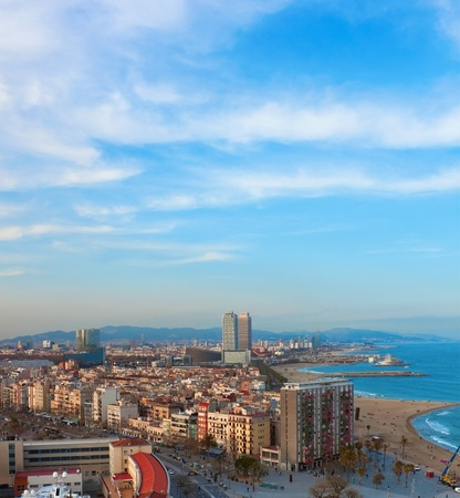 Barceloneta aerial view in evening time  Barcelona, Spain photo