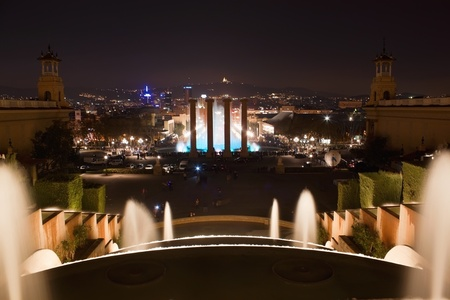 Montjuic fountain at the Plaza Espana in evening Stock Photo - 12963475