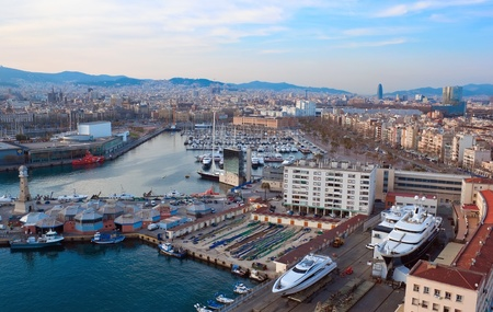 Aerial view to Barceloneta water square in Barcelona,Spain photo