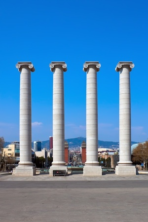 venecian: Columns at Placa de Espanya near Montjuic fountain in Barcelona, Spain Editorial