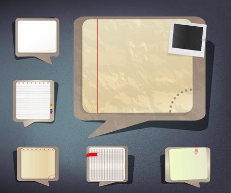 memo board: Old and new notebook paper sheets