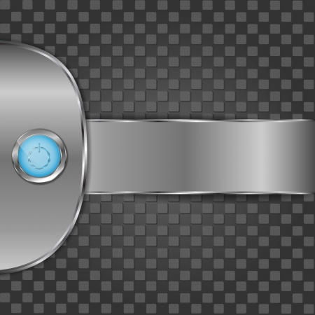 Blue start button on metal background Vector