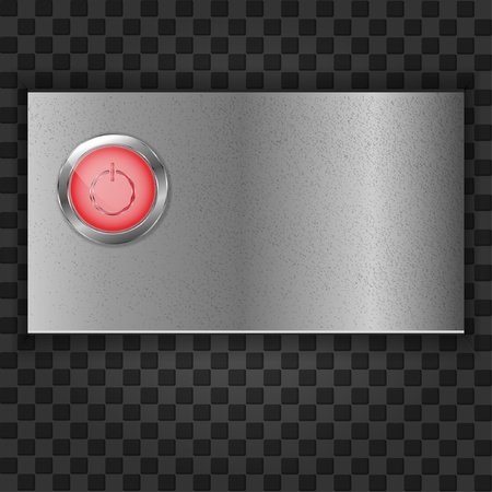 Red start buttonon the plate Vector