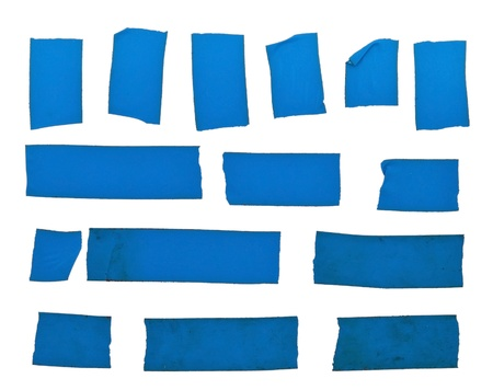 tear duct: Set of blue tape slices isolated on white background Stock Photo