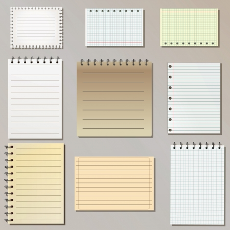 old notebook: Set of different notepad sheets Illustration