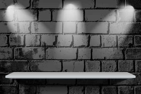 forepart: Brick wall with shelf and lights