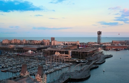 Aerial view to Barcelona yacht port in evening photo