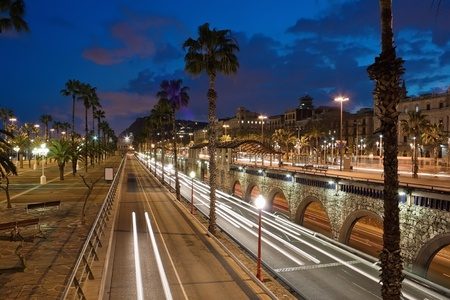 Barcelona city night trafic on road Stock Photo