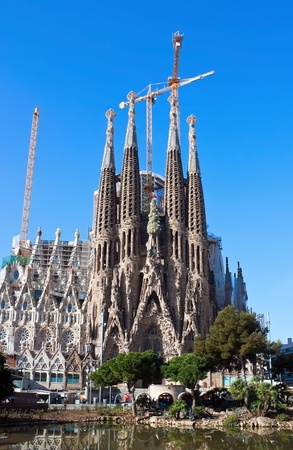 uncomplete: Sagrada familia on sunny day in Barcelona, Spain