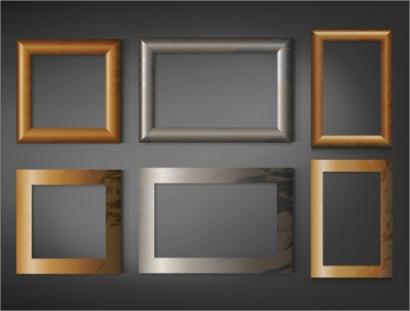 Wooden frames, set of different Vector