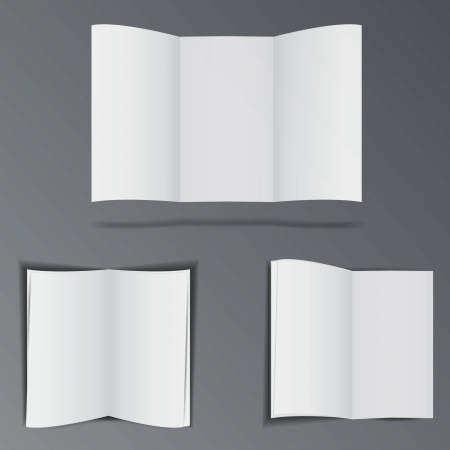 folded paper: Three folded paper brochures