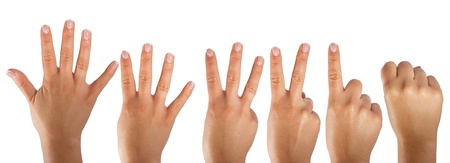 3 4: Counting hands isolated on white background Stock Photo