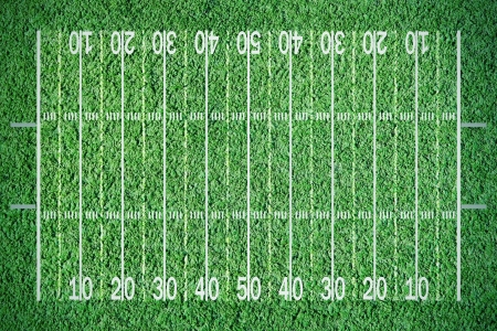 American football field on green grass photo