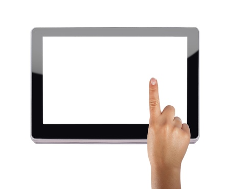 Modern tablet device over white background with index finger touching screen photo