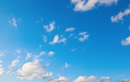 White soft clouds on blue sky Stock Photo