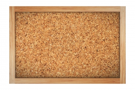 Brown cork board with wooden frame isolated on white Stock Photo - 14260340
