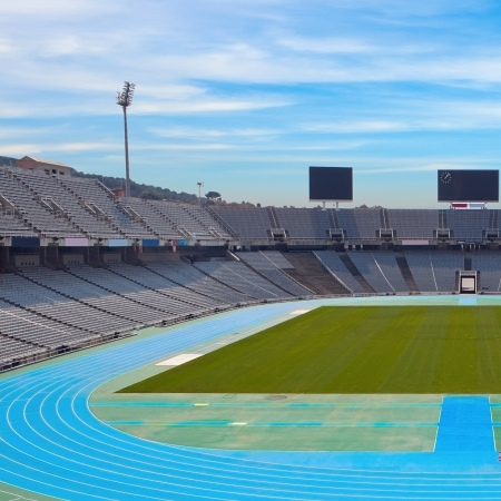 olympic sports: Barcelona olympic stadium on sunny day Editorial